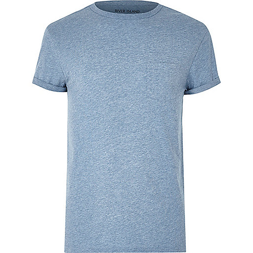 Blue marl pocket T-shirt