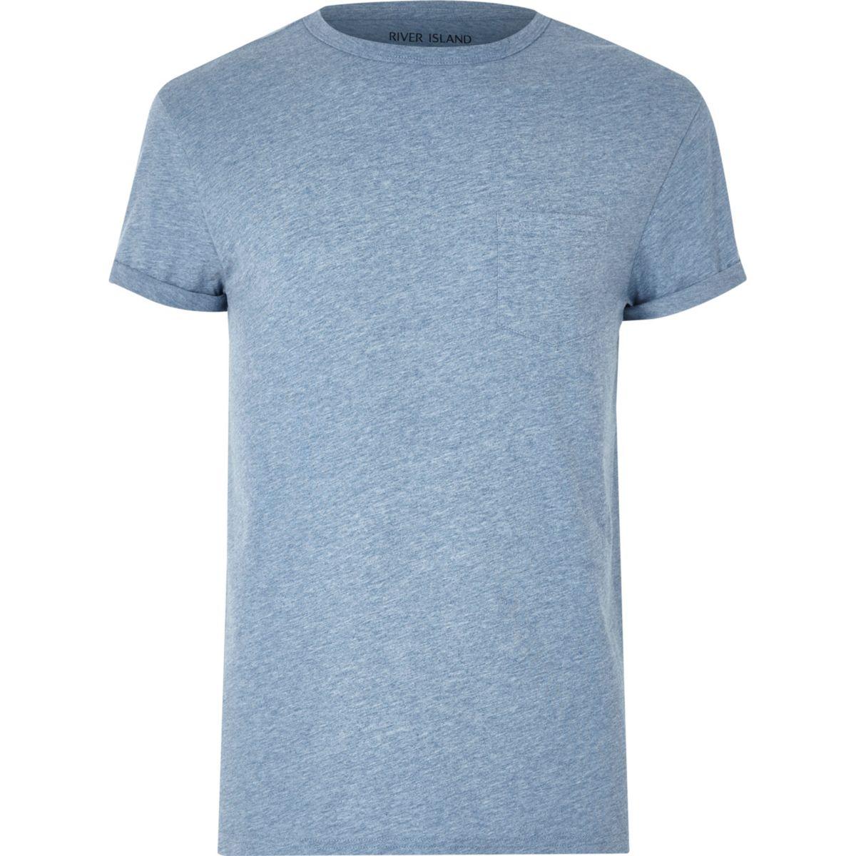 T-shirt bleu chiné avec poche