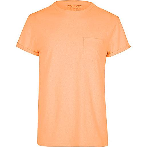 Orange rolled sleeve pocket T-shirt