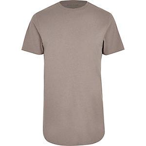 Steingraues, langes T-Shirt mit abgerundetem Saum