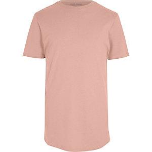 T-shirt long rose à ourlet arrondi
