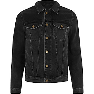 Black skinny stretch denim jacket