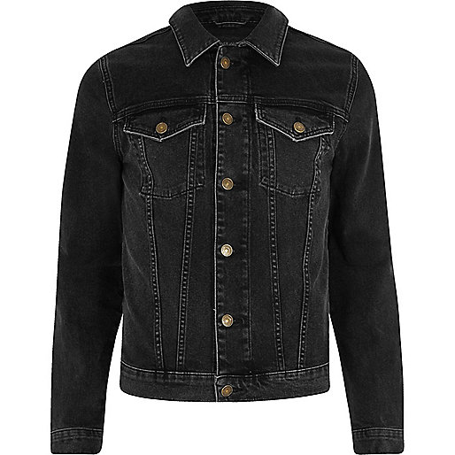 Black skinny stretch denim jacket