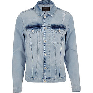 Blue distressed skinny fit denim jacket