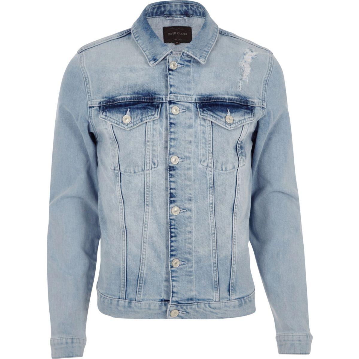 Blaue, schmale Jeansjacke im Used Look