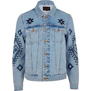Veste en jean imprimé aztèque bleue