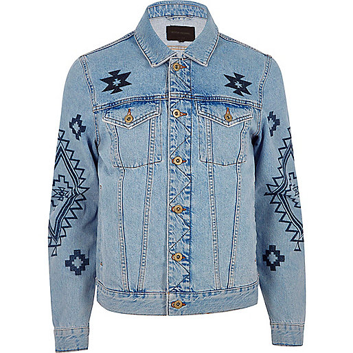 Blue aztec print denim jacket
