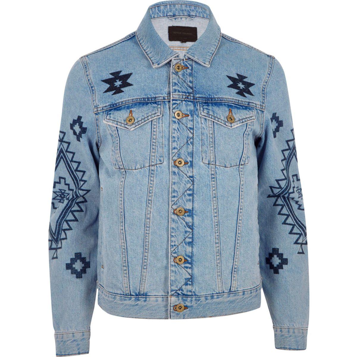 Blue aztec print denim jacket
