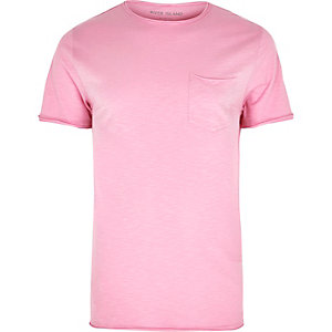 T-shirt coupe slim rose à poche et bord brut