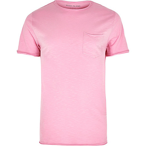 Pink slim fit raw cut pocket T-shirt - T-Shirts & Vests - Sale - men