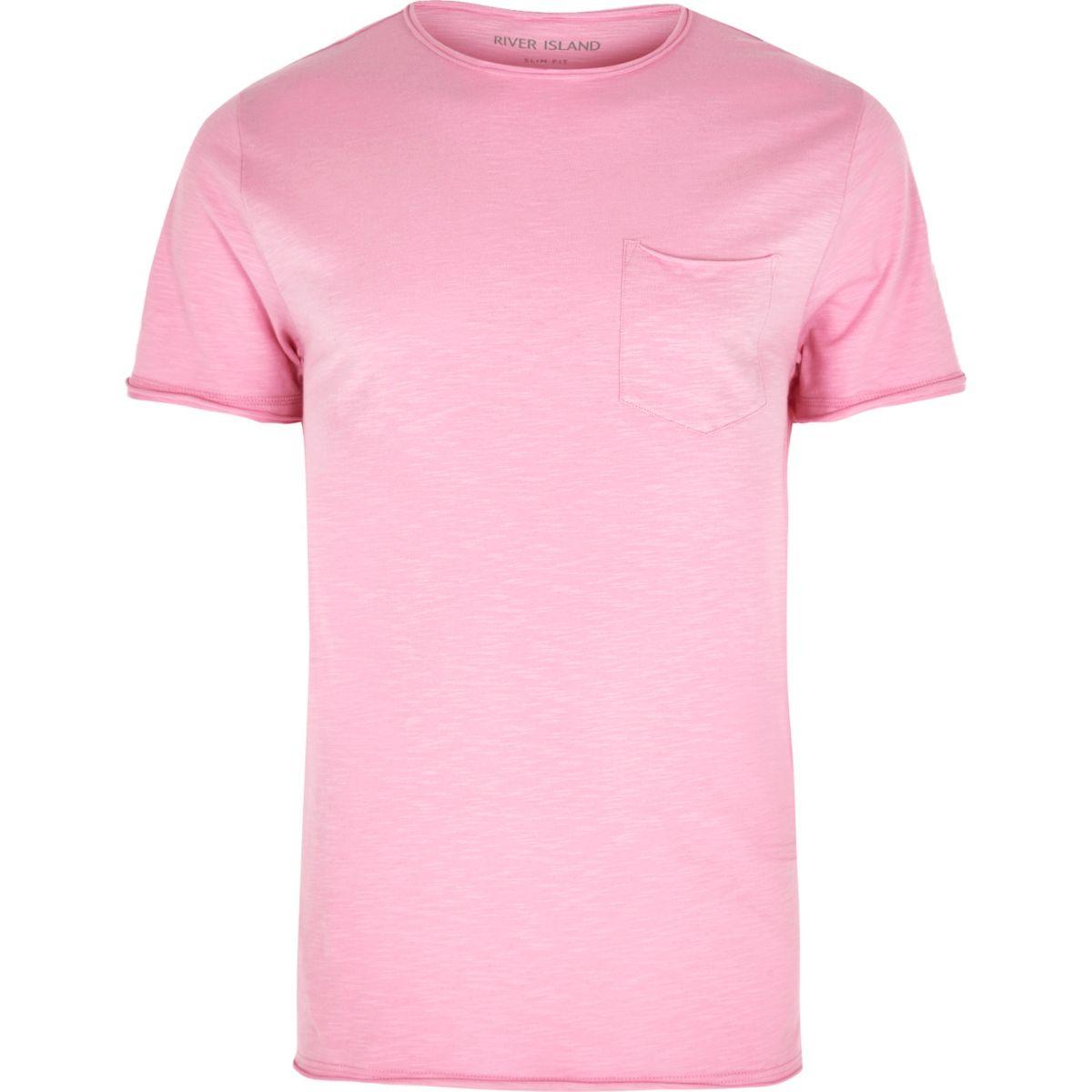 Pink slim fit raw cut pocket T-shirt