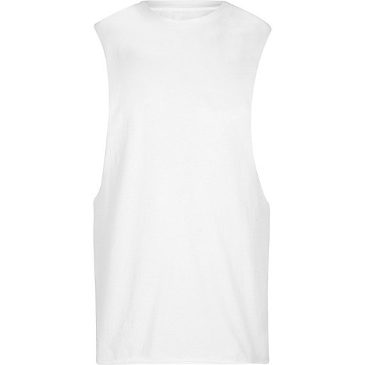 White crew neck muscle fit tank top