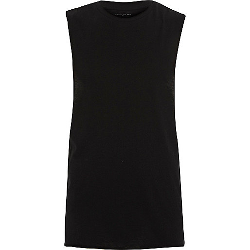 Black dropped armhole muscle fit tank top