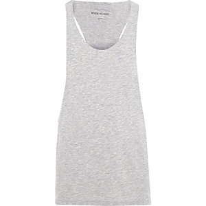 Grey marl racer back muscle fit vest