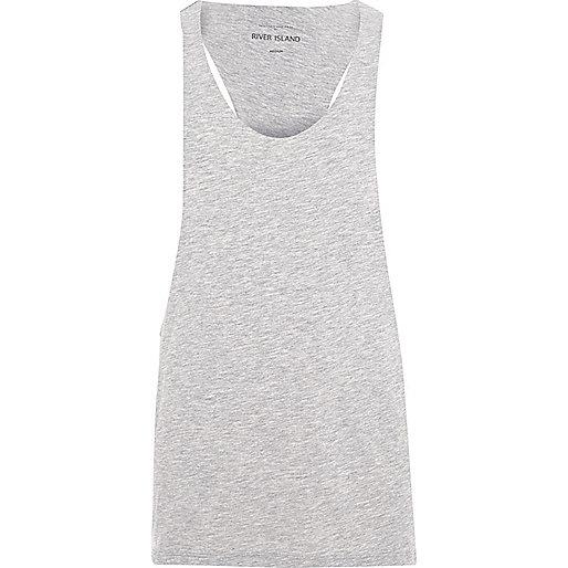 Grey marl racer back muscle fit vest