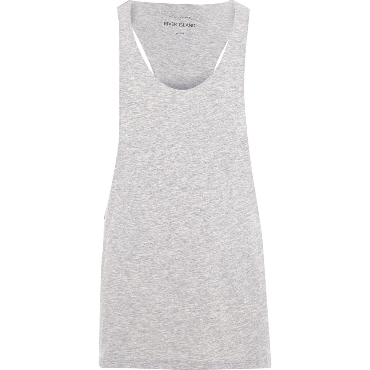 Grey marl racer back muscle fit tank