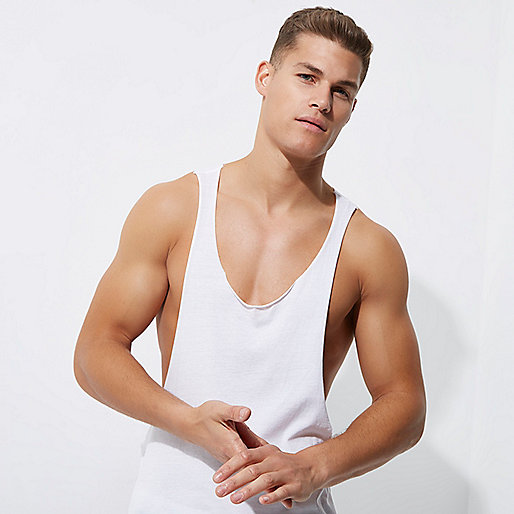 White racer back dropped armhole vest