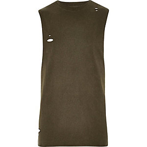 Dark green distressed slim fit tank top
