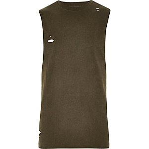 Dark green distressed slim fit tank top