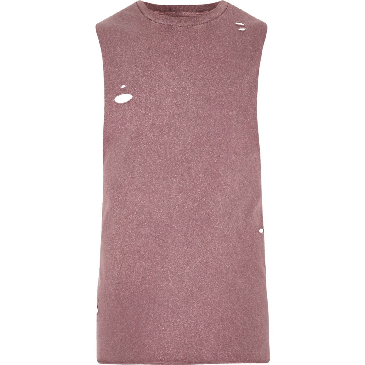 Burgundy distressed washed tank top