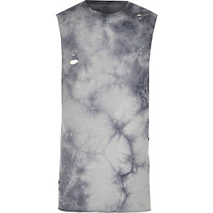 Graues Slim Fit Tanktop im Used-Look
