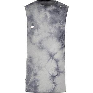 Grey distressed tie dye slim fit tank top
