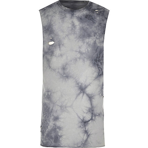 Grey distressed tie dye slim fit tank top