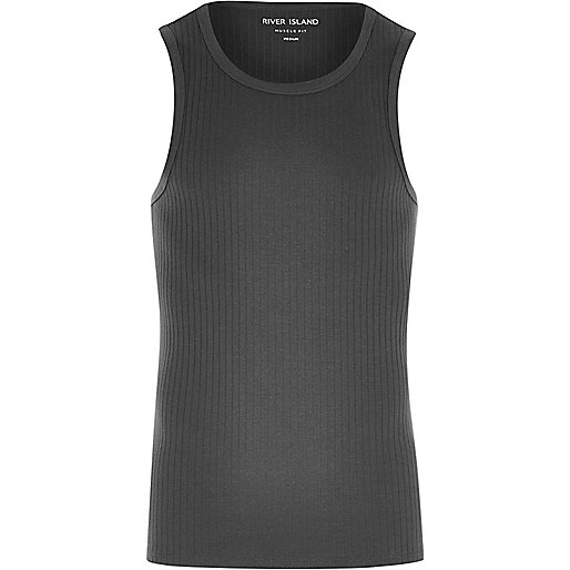 Dark grey ribbed muscle fit tank