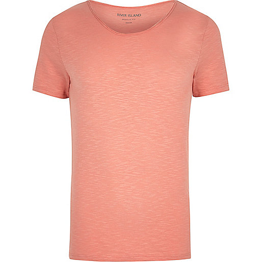 Coral scoop neck muscle fit T-shirt