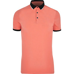 Red tipped muscle fit polo shirt