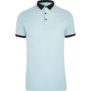 Light blue tipped muscle fit polo shirt