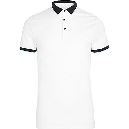 White tipped muscle fit polo shirt