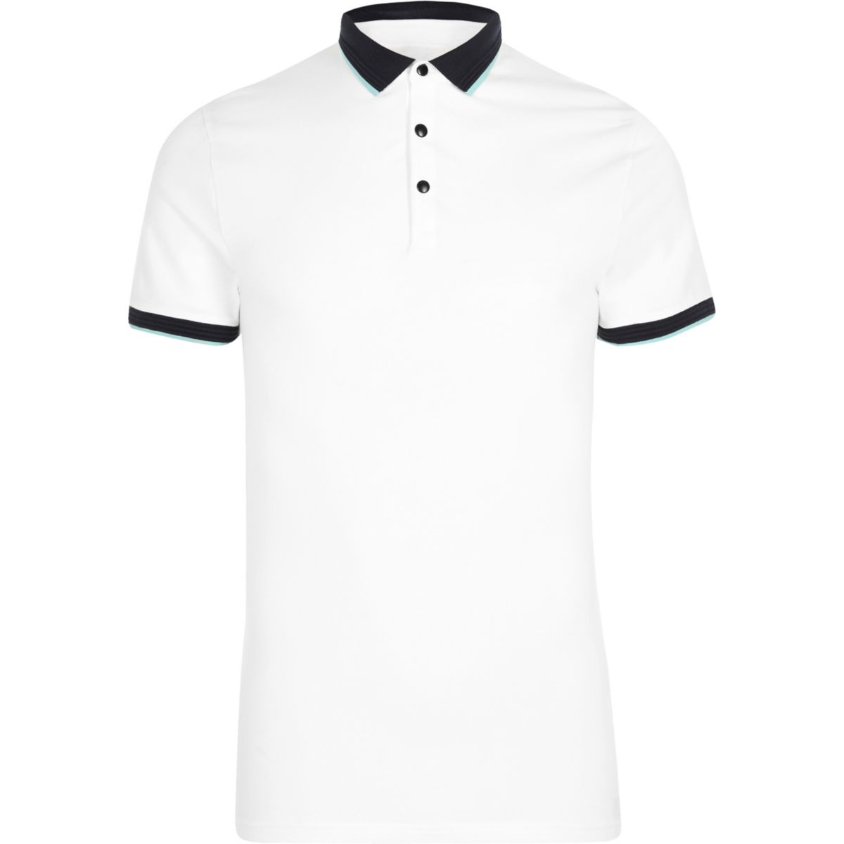 White tipped muscle fit polo shirt holiday shop sale men for White fitted polo shirts