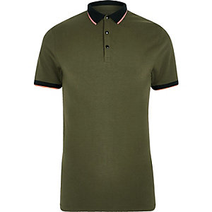 Khaki green tipped muscle fit polo shirt