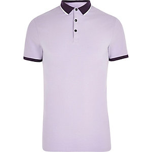 Light purple tipped muscle fit polo shirt