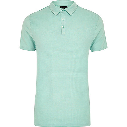 Mint green waffle slim fit polo shirt