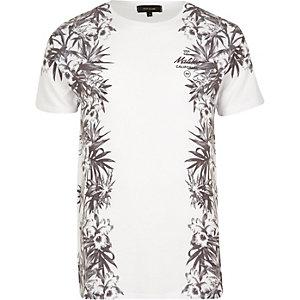 Weißes T-Shirt mit Blumen- und Malibumuster