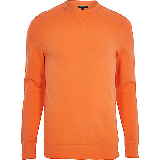Orange long sleeve muscle fit sweatshirt