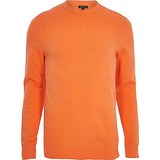 Orange long sleeve muscle fit sweatshirt