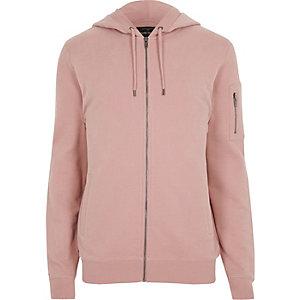 Roze hoodie met rits voor