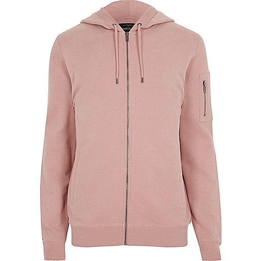 Pink zip front hoodie