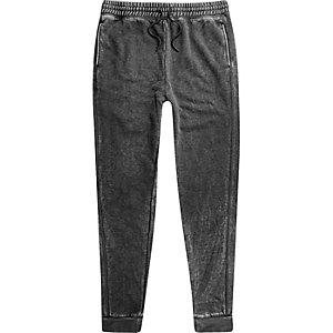Pantalon de survêtement gris foncé effet usé