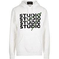 White 'Studio' print hoodie