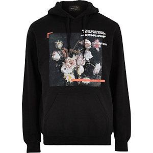 Black floral box print hoodie