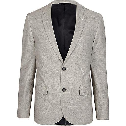 Grey cropped skinny fit blazer