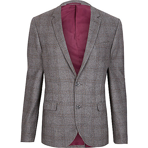 Grey check skinny fit blazer