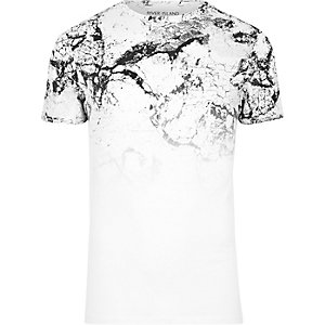 White cracked marble fade print T-shirt