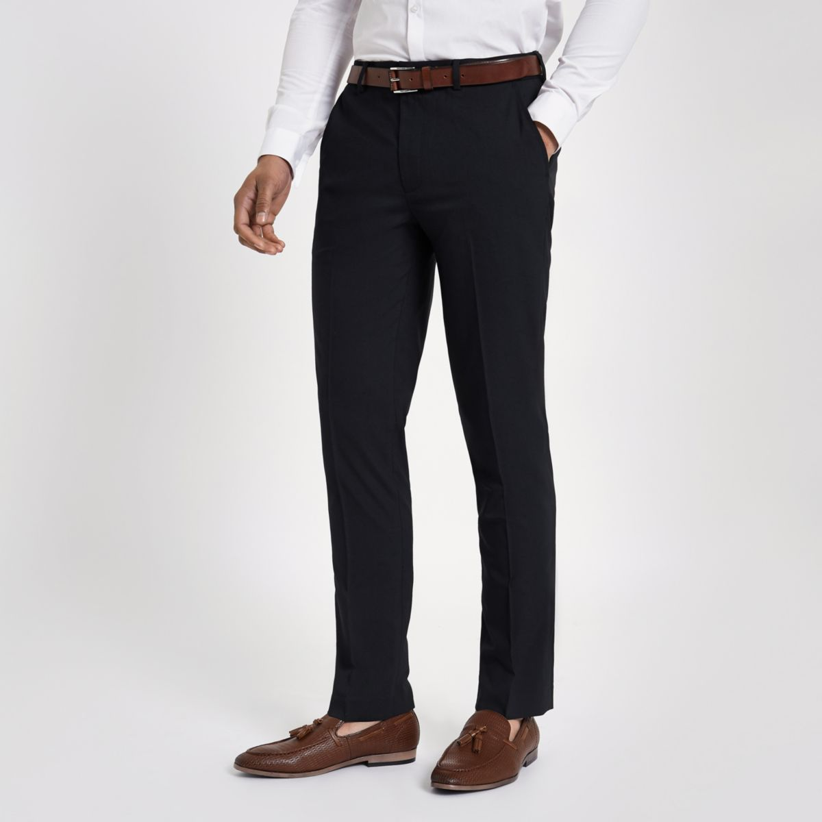 Navy slim fit smart trousers