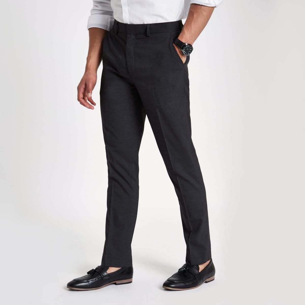 Grey slim fit smart trousers