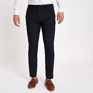 Marineblauwe skinny-fit nette broek